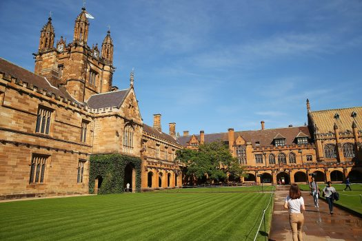 A student walks across Sydney University's campus in Australia, on April 6, 2016. (Brendon Thorne/Getty Images)